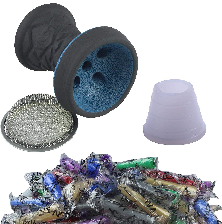 SMOKE 2U Juego de cabezal de piedra para cachimba de primera calidad, cabezal de piedra + colador + junta de la cabeza + 100 boquillas higiénicas, color azul
