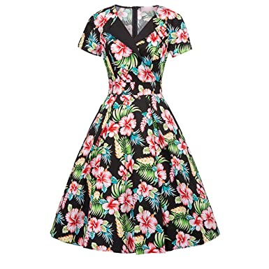 Women 2018Sexy Short Sleeve Cotton Vestidos Swing Pin up Vintage Dresses,1 Dress Womens,