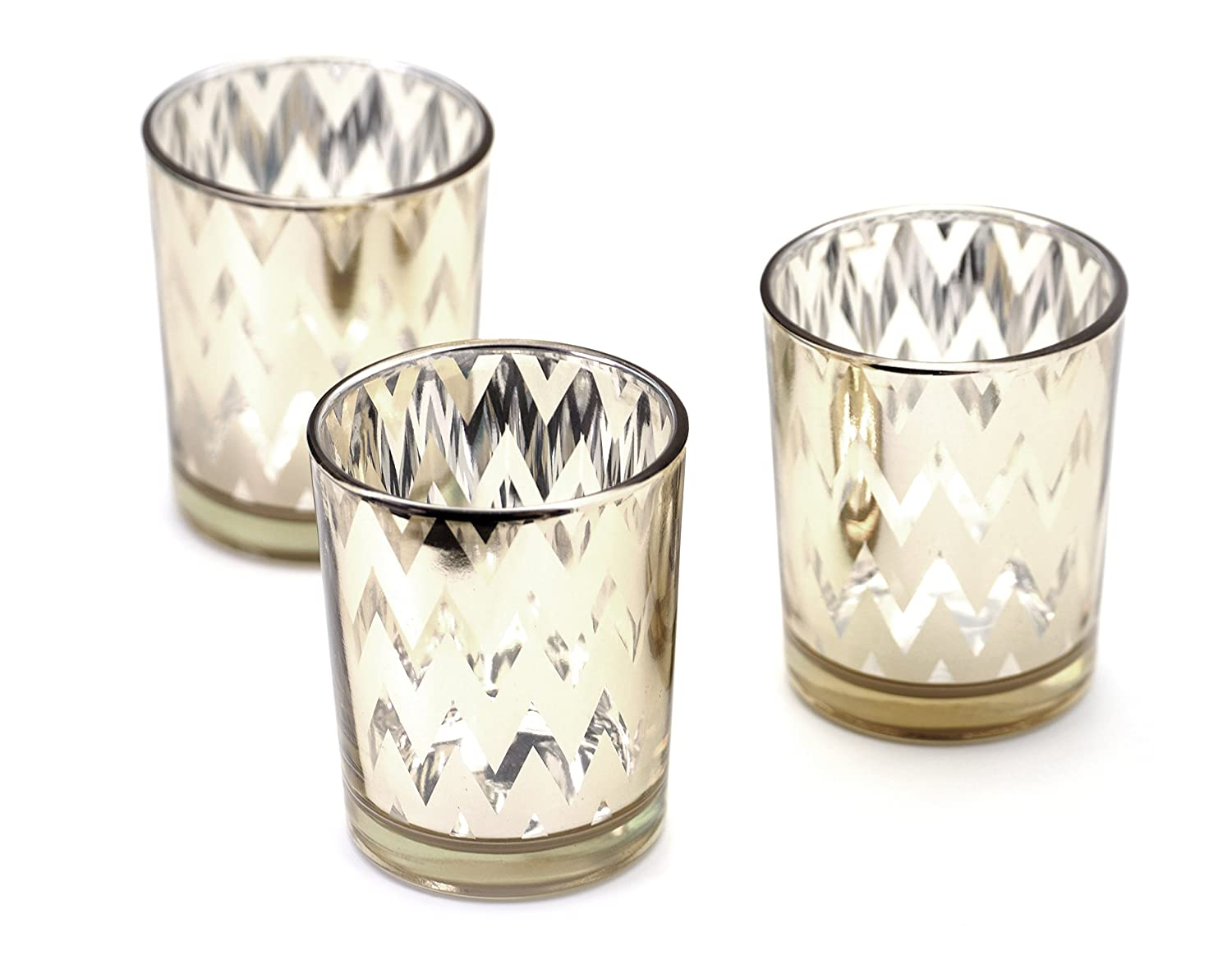 Set of 3 pcs Parties and Home D/écor Creationtop Shining Glass Votive Tealight Candle Holders Set for Weddings Style4