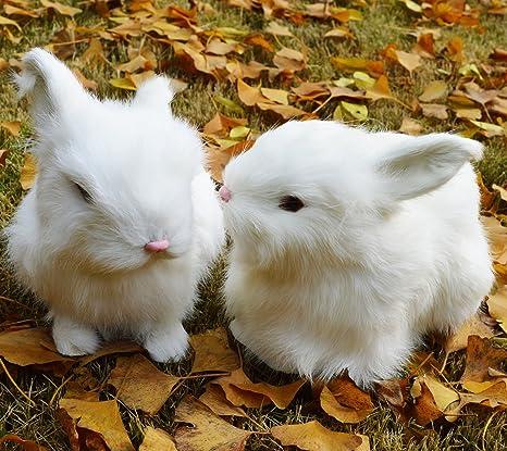 Amazon Com 2 X Realistic Mini Bunnies Lifelike Rabbits Plush Fur