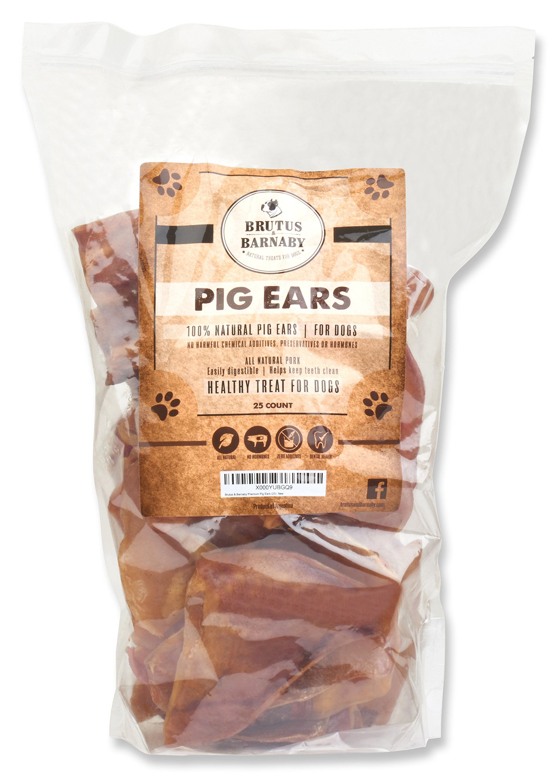 100% Natural Whole Pig Ear Dog Treat (25 Count), Brutus & Barnaby's Healthy, Pure Pork Ear is Easily Digestible with No Added Colorings, Chemicals or Hormones