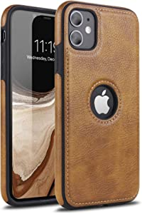 for iPhone 11 Leather Phone Case, Fit, Thin and Non-Slip Soft Grip, Anti-Scratch Case. Protective Phone Cover, Luxurious and Elegant Design, Compatible with Apple iPhone 11-6.1 inch (Brown)
