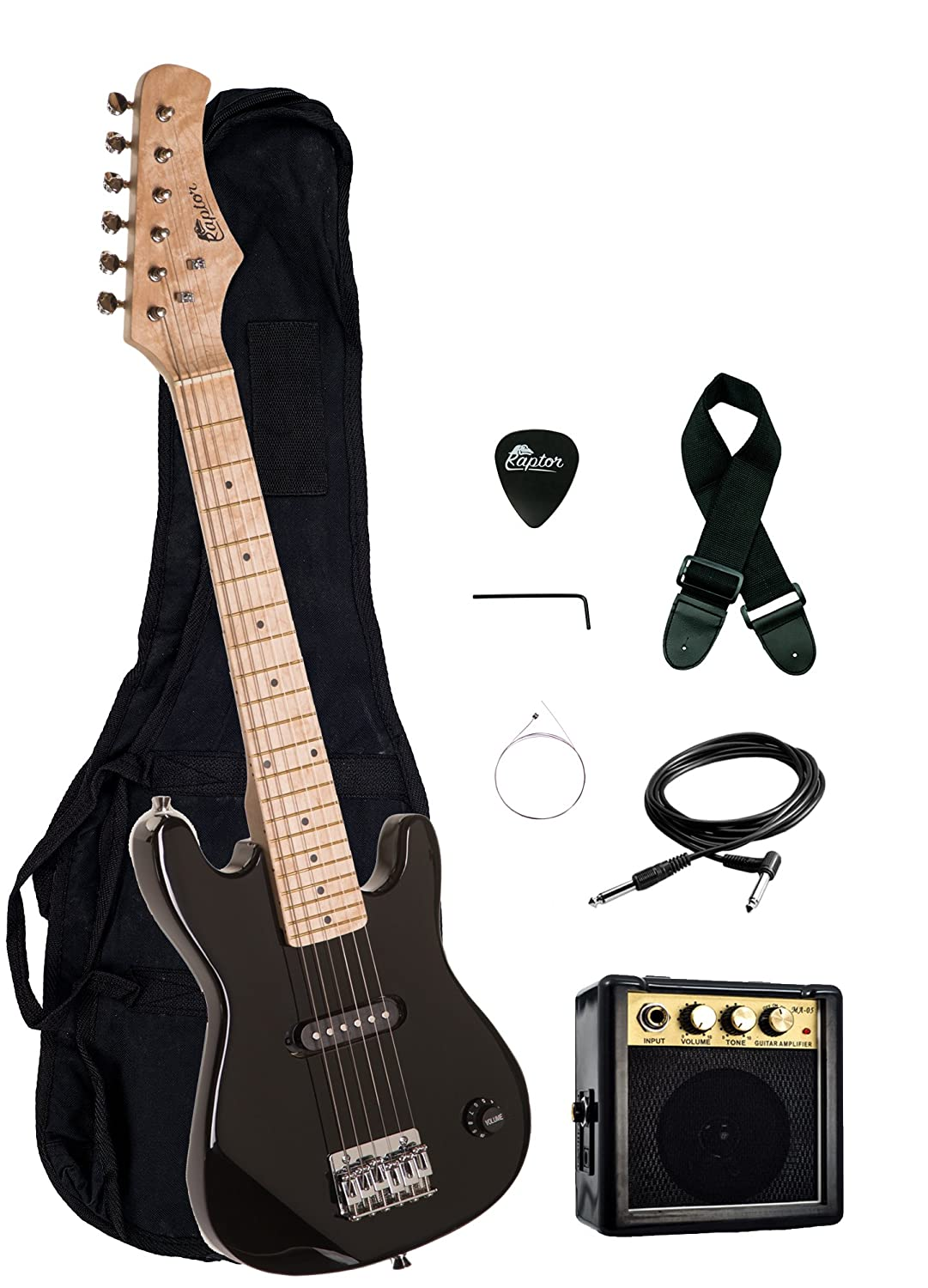"30"" Kids 1/2 Size ULTIMATE Electric Guitar Package with 3W Amp, Gig Bag, Strap, Cable and Exclusive RAPTOR Picks (Black)"