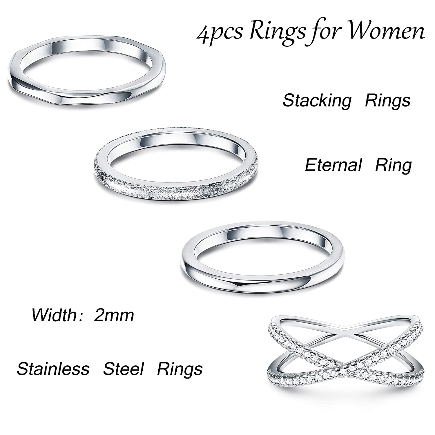 a773775b46b9 Amazon.com  LOYALLOOK 4PCS Stainless Steel Stacking Wedding Band Rings  Women CZ Criss Cross Ring Girls Engagement Eternity Knuckle Mid Ring Set  Silver Rose ...