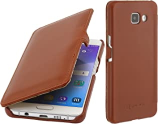 StilGut Book Type Case con Clip, Custodia in Pelle per Samsung Galaxy A5 (2016), Cognac