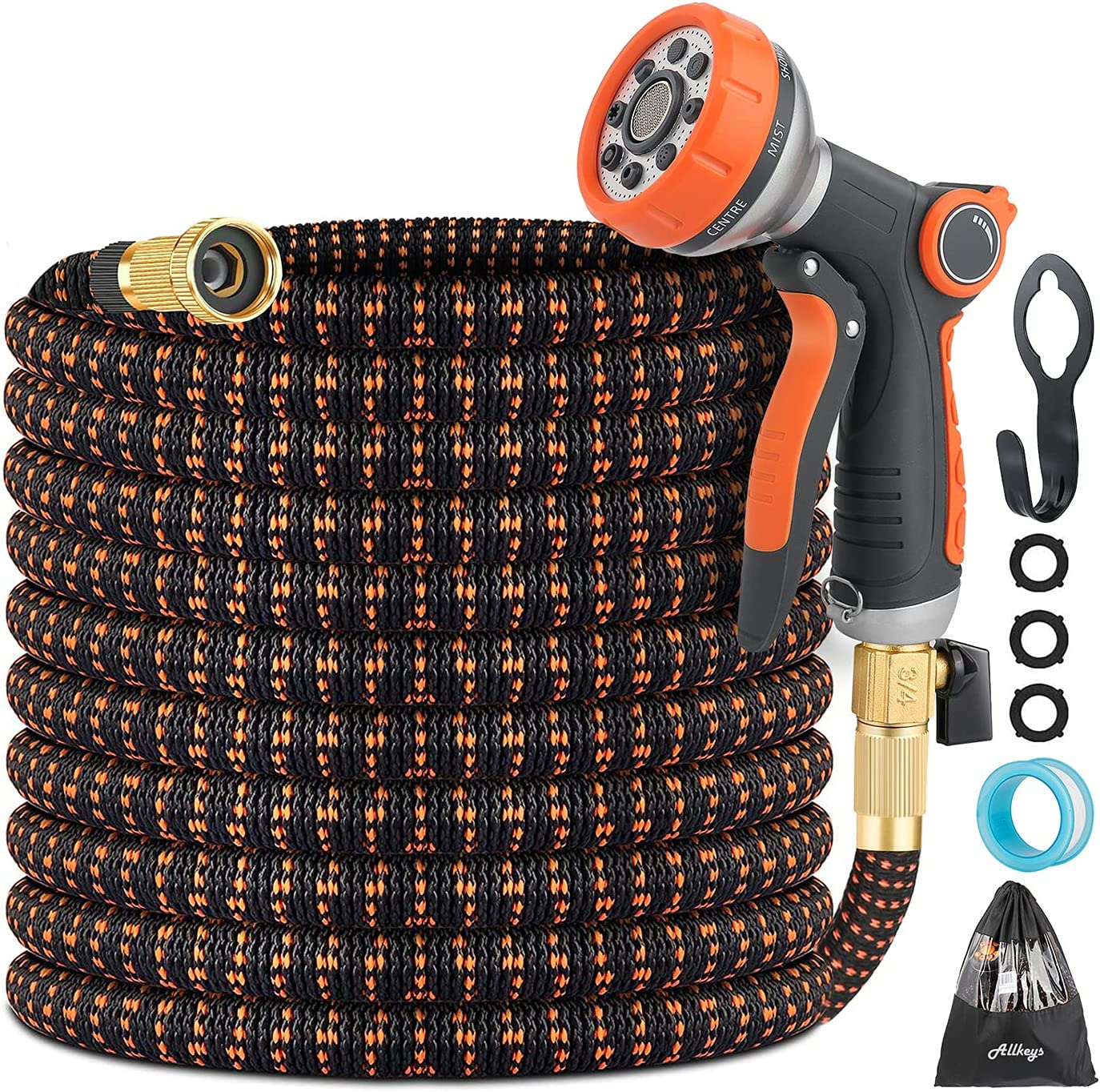 Expandable Garden Hose - 50ft Flexible Water Hose with Durable triple Layers Latex, 8 Function Spray Nozzle and 3/4