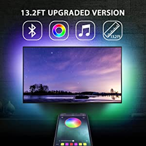 """13.2Ft TV Backlights USB Light Strip Kit for 55""""-70"""" TV, Mirror, PC, APP Control Sync to Music, Bias Lighting, 5050 RGB Waterproof IP65 USB LED Strip Lights Compatible with Android iOS"""