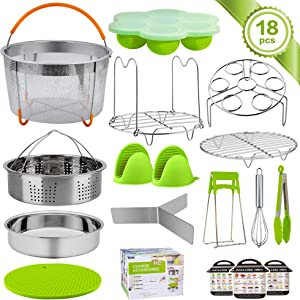 TeamFar Instant Pot Accessories, 18 Pieces Pressure Cooker Accessories for 6 / 8qt Electric Pot Air Fryer, Healthy & BPA Free, Versatile & Functional, Easy Clean & Dishwasher Safe