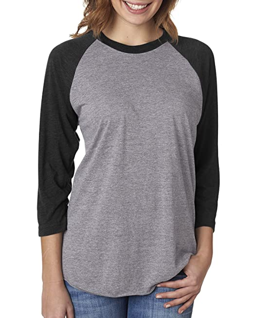 4bae4b44ab236 Next Level 6051 Women's Tri-Blend 3/4-Sleeve Extreme Softness Raglan ...