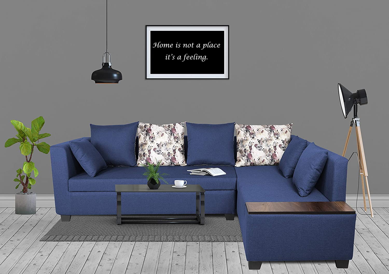 Adorn India Mclain L Shape 5 seataer Sofa (Blue)