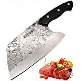 KITORY Forged Cleaver Knife Chinese Kitchen Chef`s Knives Full Tang Pakkawood Handle Non-Sticky Blade Surface Bone Meat and V