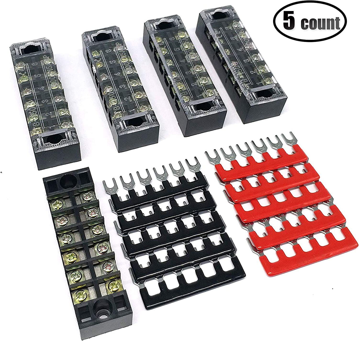 IZTOSS 5 Positions 600V\15Amp terminal block kits Terminals Included Red and Black 10 Pcs
