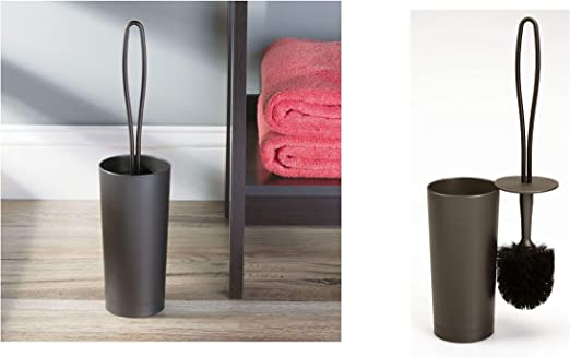 InterDesign Loop Toilet Bowl Brush and Holder Clear Bathroom Cleaning Storage