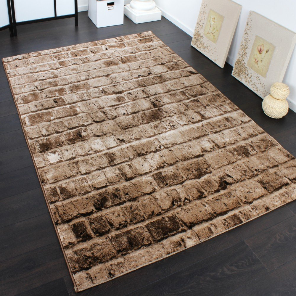 PHC Edler Designer Teppich mit Steinwand Optik in Braun Beige Meliert, Grösse 160x230 cm