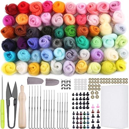 HUELE 60 Pcs Wool Felting Needles /& 5 Pcs Wooden Needle Felting Pen Kits with Clear Bottles 3 Sizes