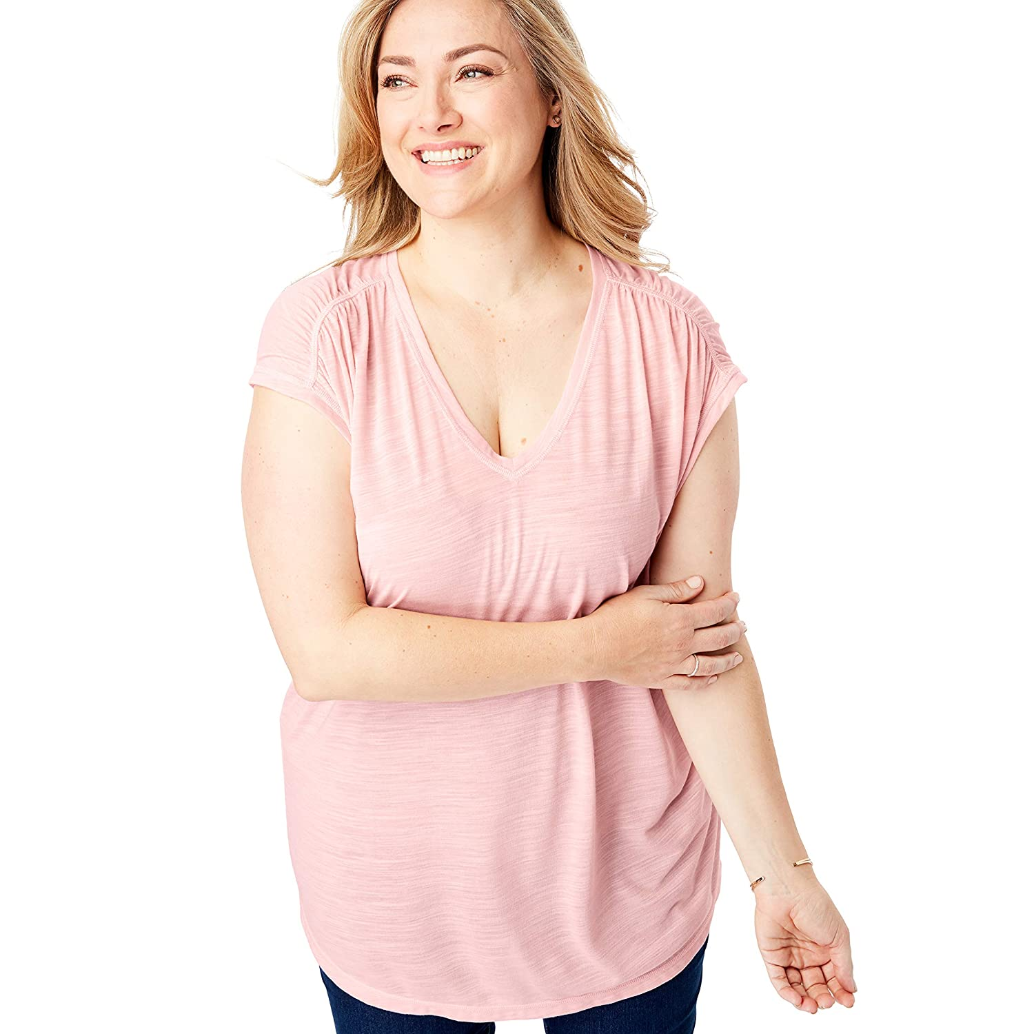 fullbeauty SPORT Womens Plus Size Ruched Sleeve V-Neck Tunic