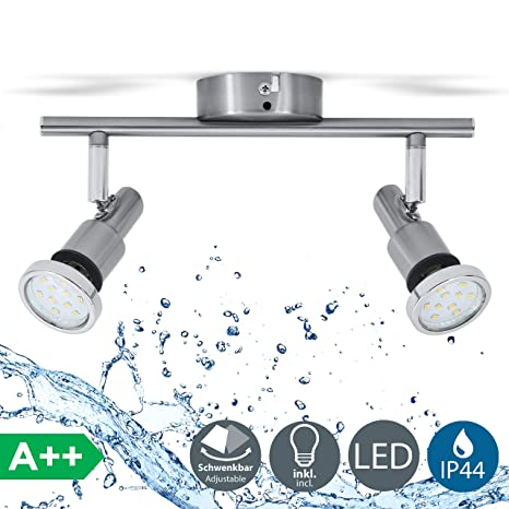 Lámpara de techo para baño IP44 incl. 2x5W LED bombillas orientables GU10 I Focos de techo y pared I luz blanco cálido 3000K I metal I Color níquel ...