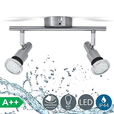 Lámpara de techo para baño IP44 incl. 2x5W LED bombillas orientables GU10 I Focos de techo y pared I luz blanco cálido 3000K I metal I Color níquel ...