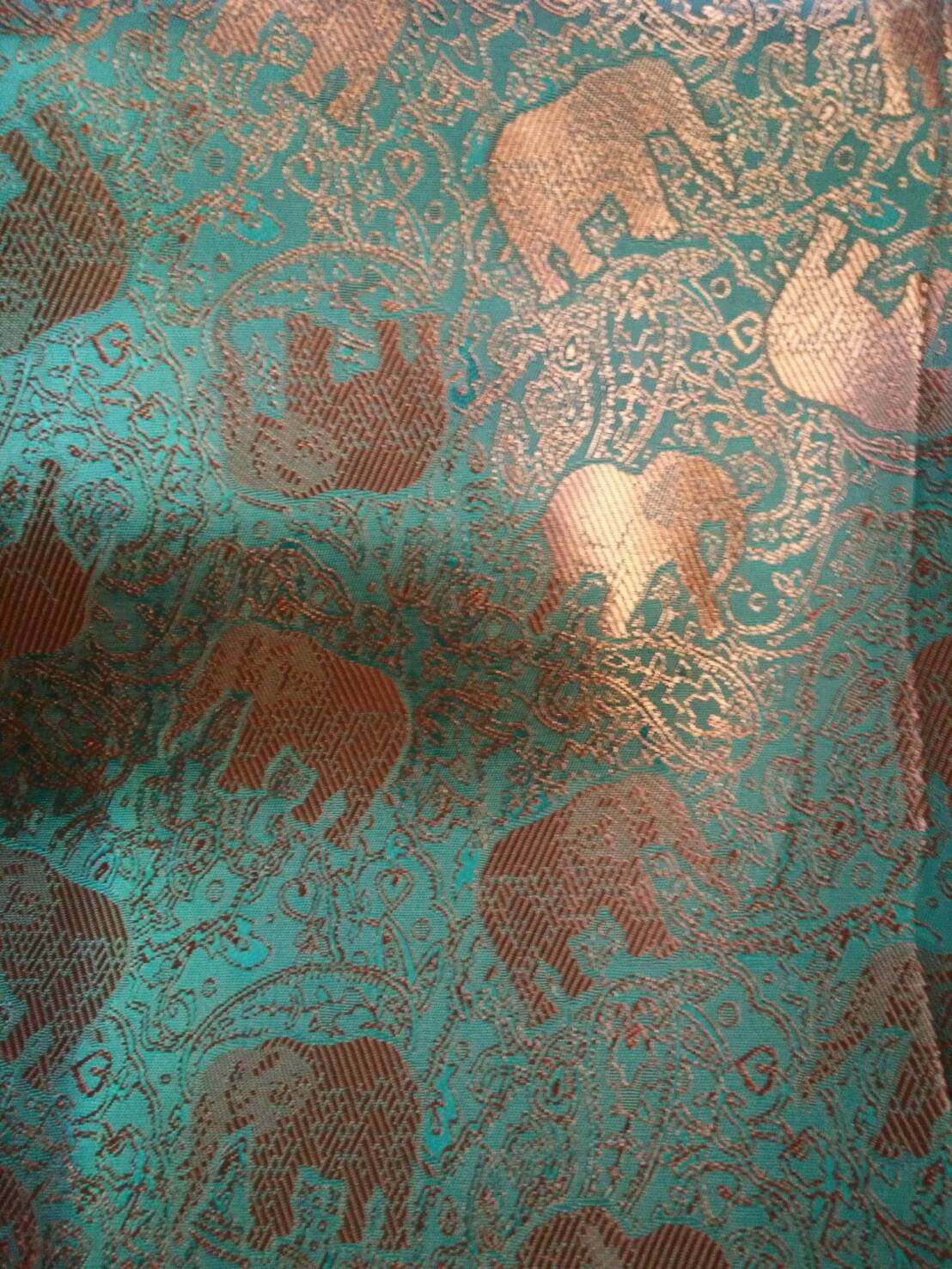 New 100% Thai Silk Scarf Shawl Wrap Elephant Orange Sea Green Chartreuse 74'' X 27.5'' Large by Timeshop91