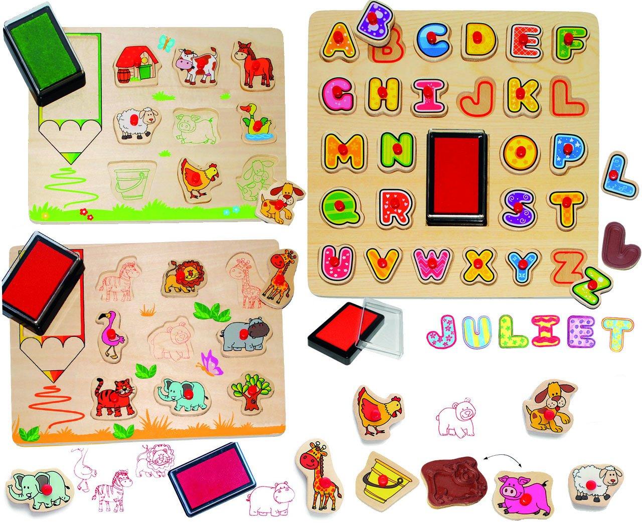 Alles-meine  GmbH XL Set _ Stempelset - Steckpuzzle Platten & Stempel - mit Griffen -  Buchstaben & Haustiere & Zootiere  - incl. Name - aus Holz - 46 Teile mit großen Stempe.. B01N2PTADS   New Listing