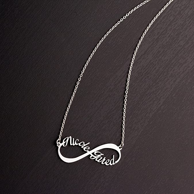 c123a8c8fac0 Amazon.com  14K White Gold Infinite Love Name Necklace with a 16