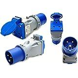 16 amp plug to 13 amp socket converter adaptor compact 220 - 250 volt camping caravan generator
