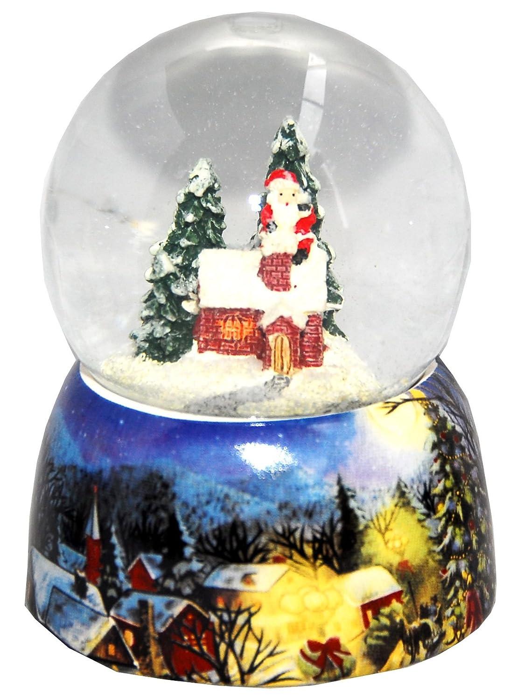 20082b Minium Collection Palla di neve Inverno Babbo Natale va su per il camino con di base in porcellana 65mm Diametro