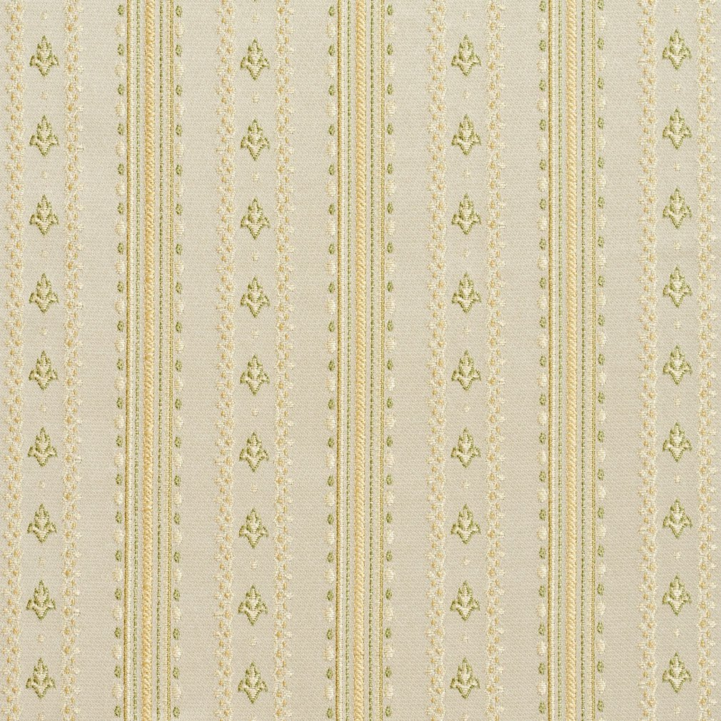 B0740D Gold and Light Green Stripes and Emblems Damask Brocade Upholstery Fabric By The Yard