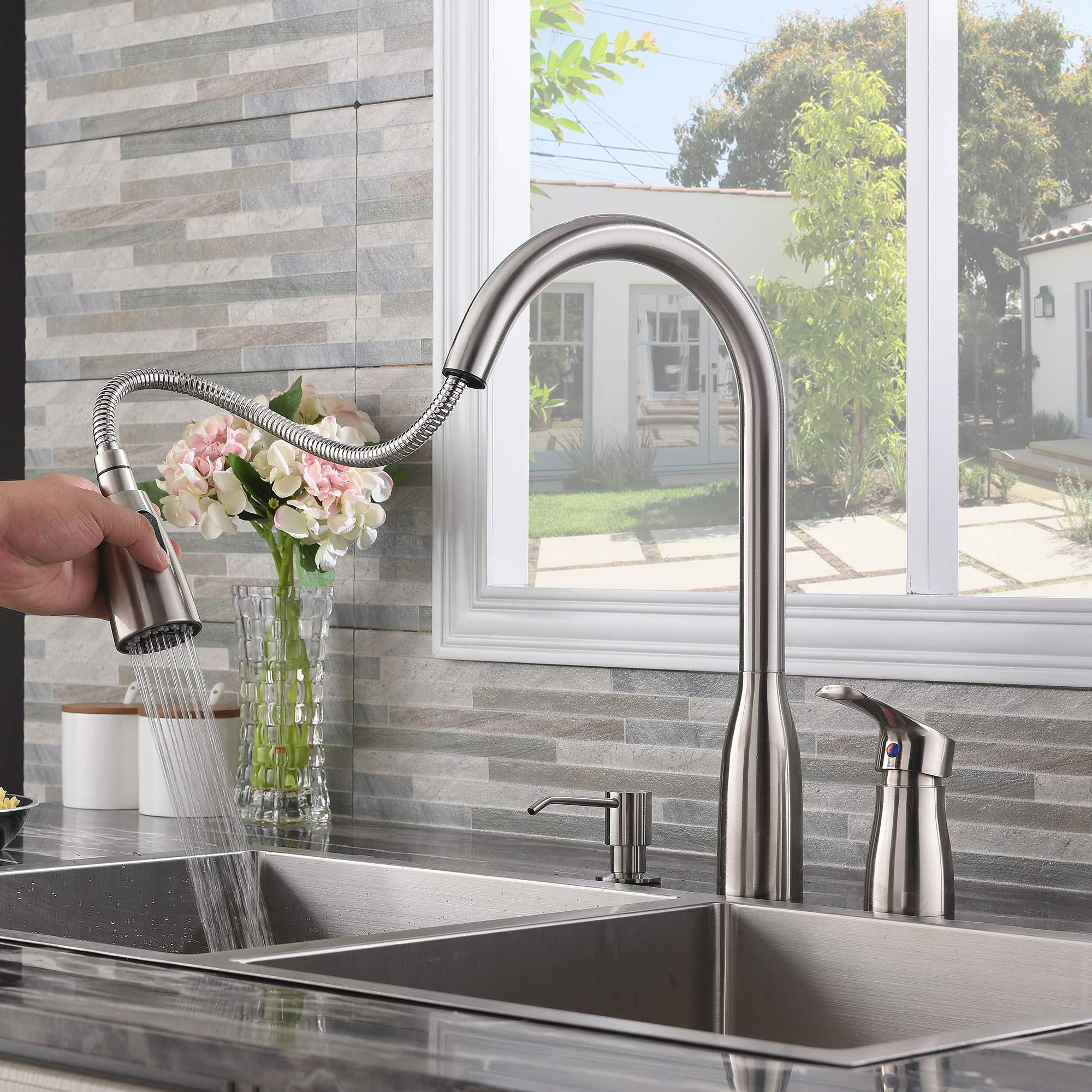 Hotis 3 Hole Pull Out Prep Sprayer Stainless Steel Single Handle Pull Down Kitchen Faucet, Brushed Nickel Kitchen Sink Faucet with Soap Dispenser by HOTIS HOME (Image #6)