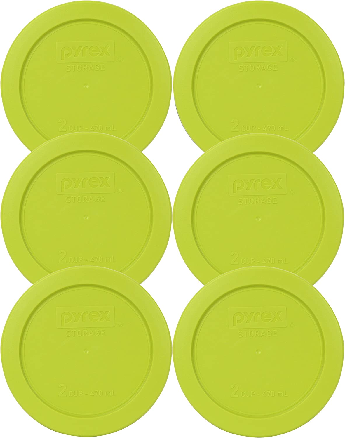Pyrex Edamame 2 Cup Round Storage Cover #7200-PC for Glass Bowls 6-Pack