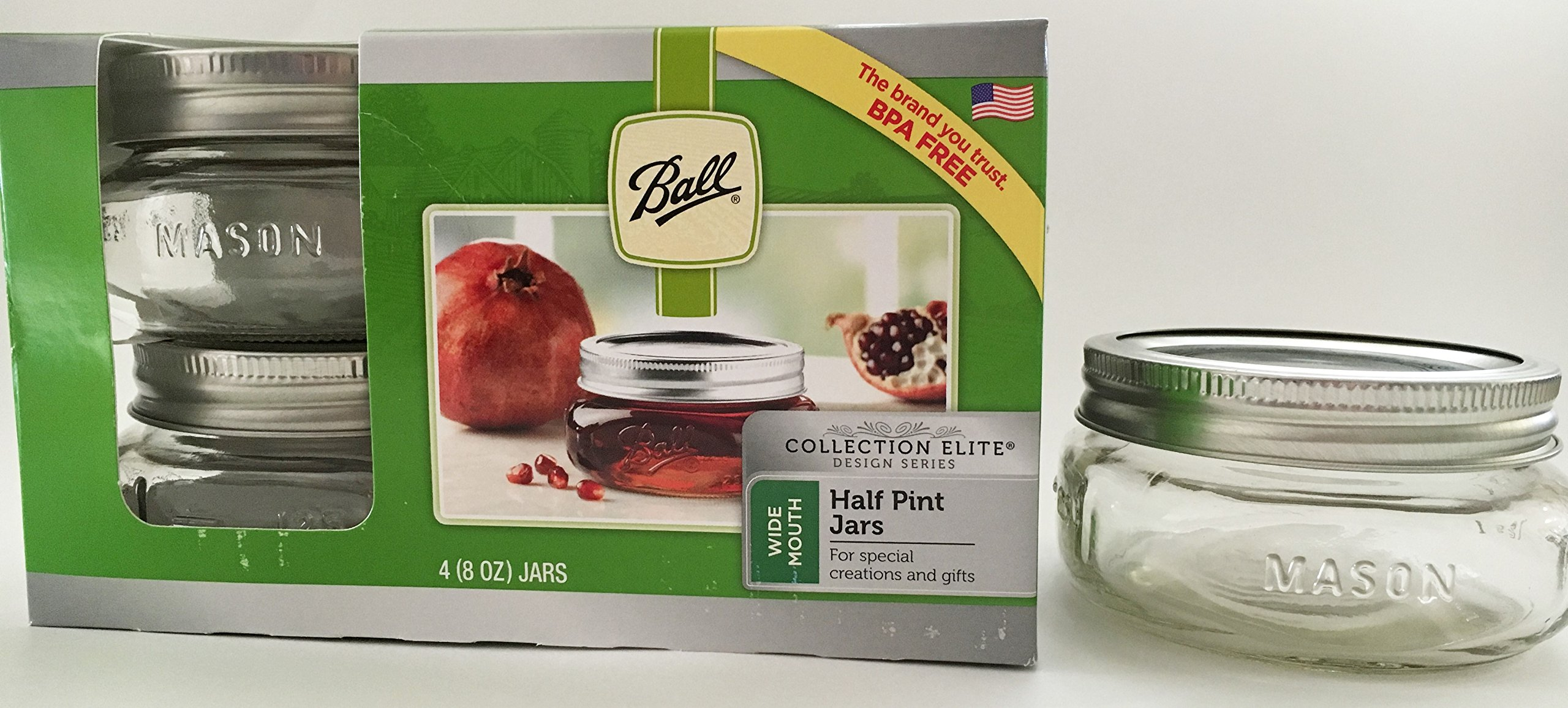 Mason Ball Jar-8 oz. Wide Mouth Squatty Collection Elite Series-Set of 4