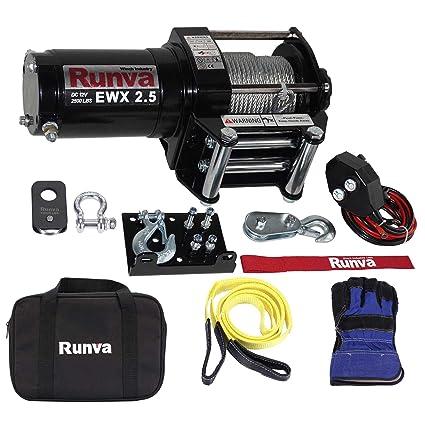 Amazon com: Runva 2500 Lbs Electric 12V ATV/UTV Power Tow Winch