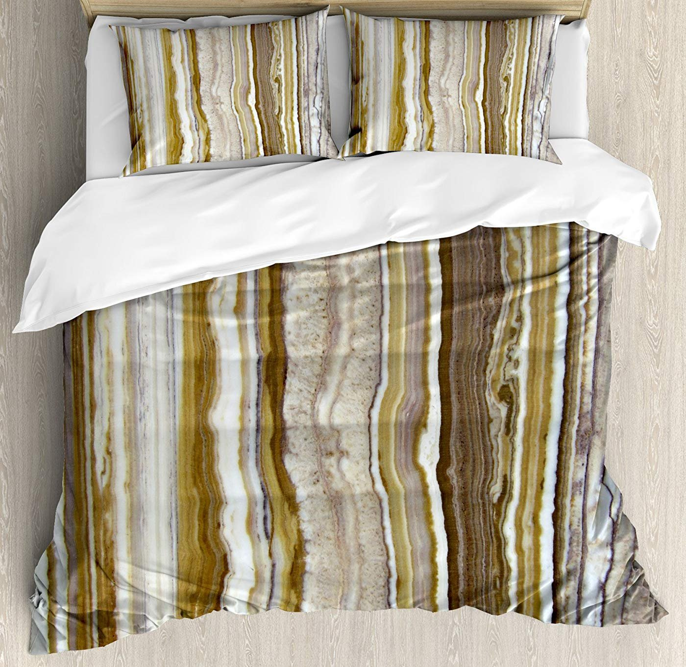 Multi 4 Twin Marble Duvet Cover Set Twin Size, Onyx Marble Rock Themed greenical Lines and bluerry Stripes in Earth color Print,Lightweight Microfiber Duvet Cover Sets, Mustard Brown