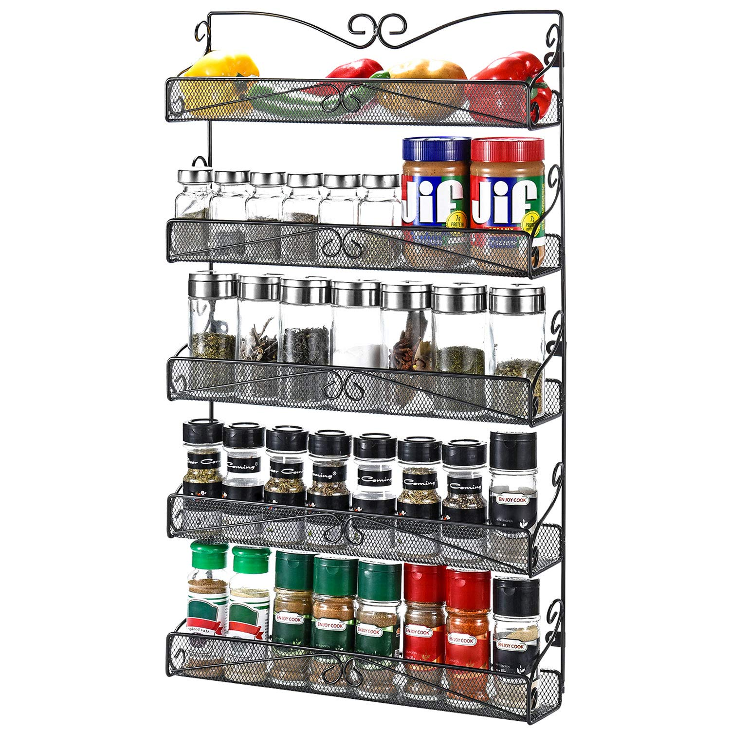 20S Wall Mounted Spice Rack Organizer for Cabinet Pantry Door ...