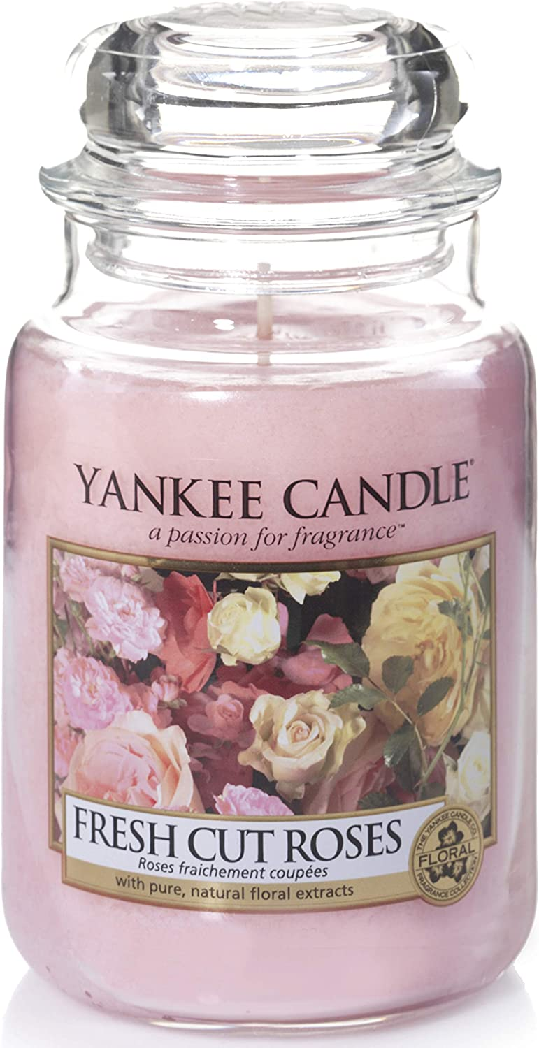 Yankee Candle Large Jar Scented Candle, Fresh Cut Roses