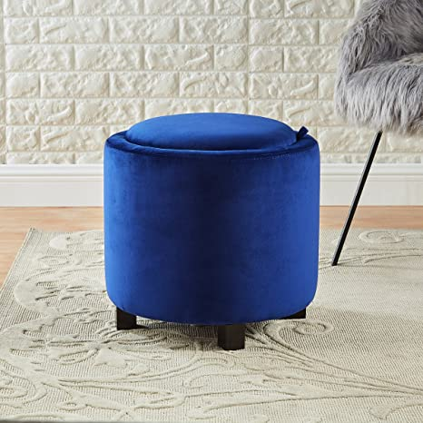 Brilliant 24Kf Upholstered Velvet Round Storage Ottoman With Solid Wood Leg Comfortable Pouf Ottoman For Footrest Blue Gmtry Best Dining Table And Chair Ideas Images Gmtryco