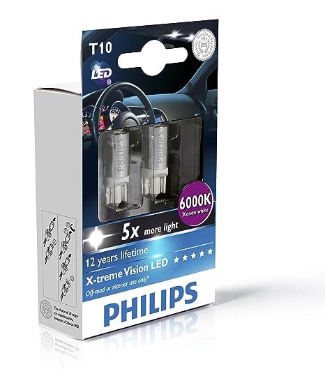 Philips 129666000KX2 T10 - Bombilla LED W5W de exterior (2 unidades), color azul