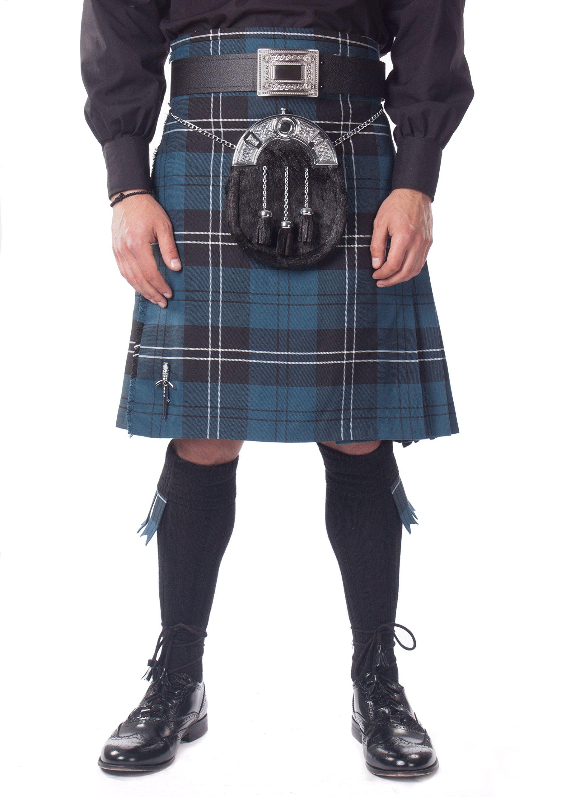Kilt Society Mens 7 Piece Full Dress Kilt Outfit- Ramsay Blue Tartan with Black Hose 42'' to 46'' by Kilt Society (Image #1)