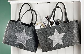 bdbd764a63a6c Gilde Filz Shoppingbag Einkaufstasche mit Glitzer STERN