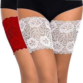 Imagen deMemoryee Cordón elástico anti-rozaduras de las mujeres El cordón elástico previene el roce Bandas del muslo Calcetines atractivos