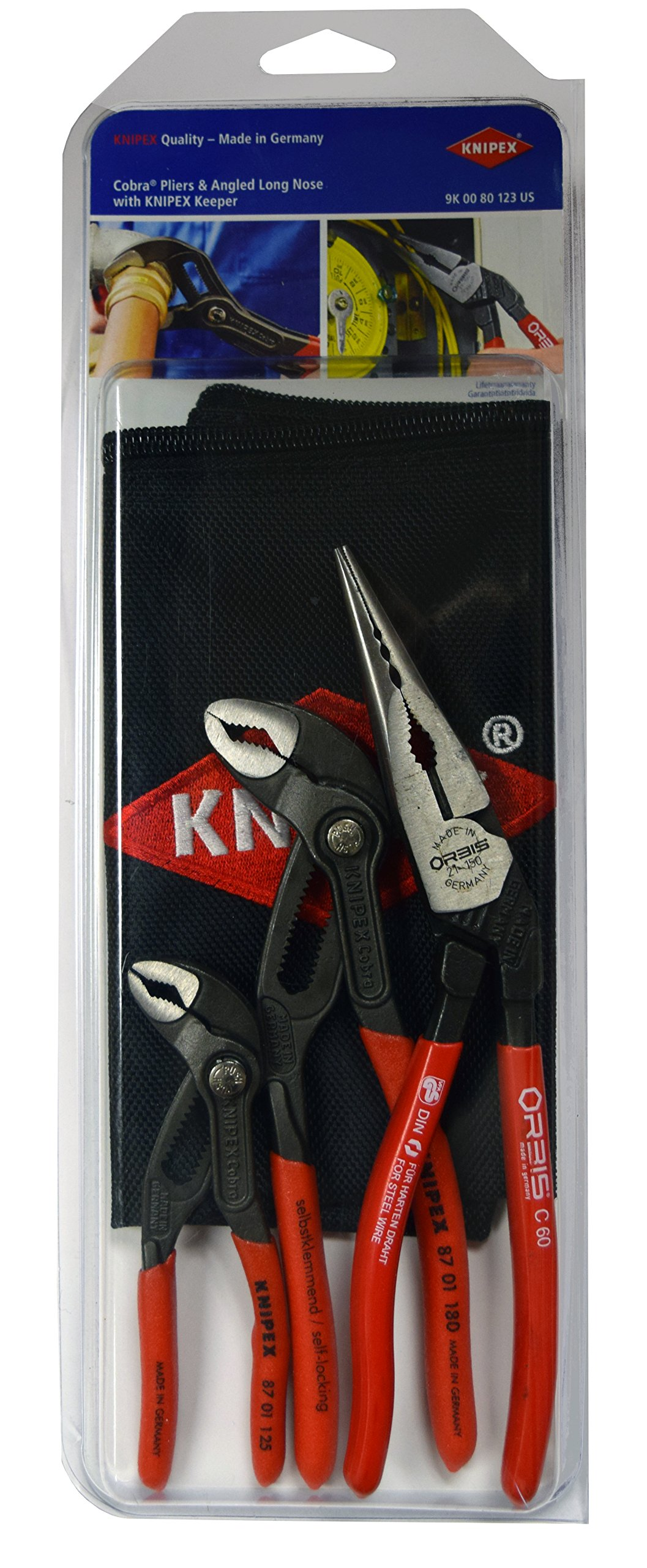 Knipex Tools 9k 00 80 123 US US Cobra Pliers and Angled Pliers Tools Set with Keeper Pouch (3 Piece) by KNIPEX Tools