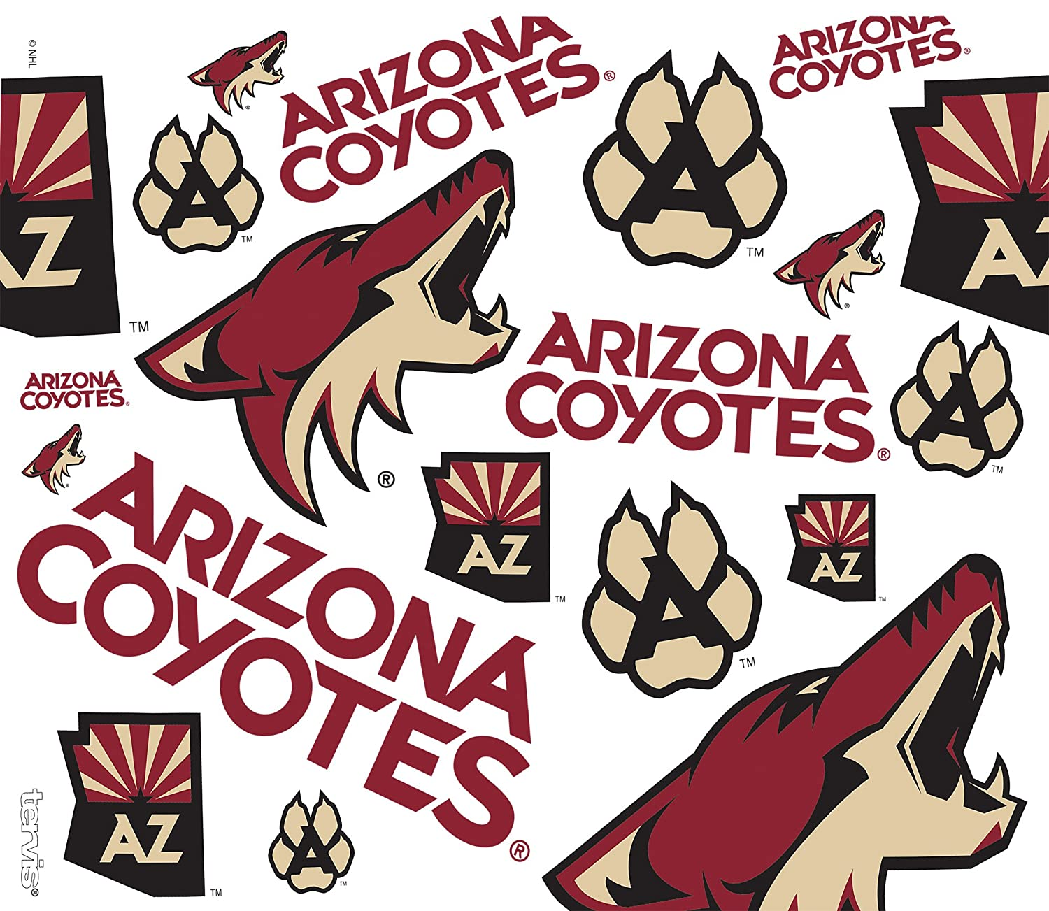 Tervis 1266019 NHL Arizona Coyotes All Over Tumbler with Wrap and Black with Gray Lid 24oz Water Bottle Clear