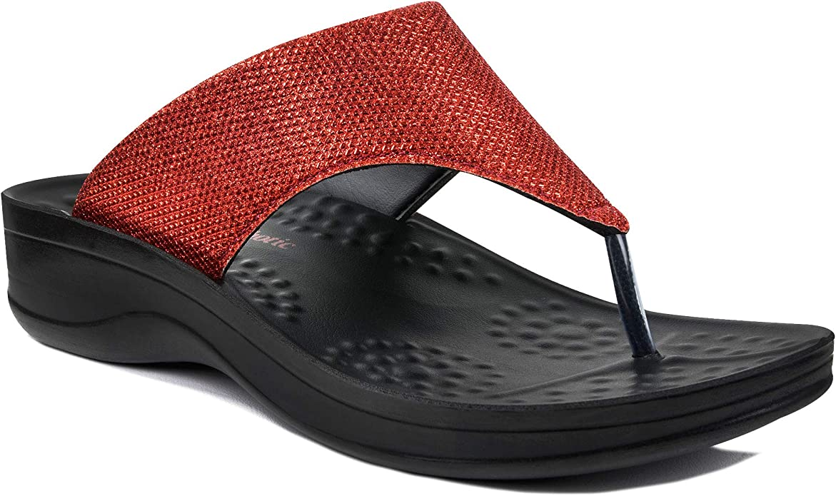 AEROTHOTIC Comfortable Arch Support Flip Flops for Women-Sparkle Silver