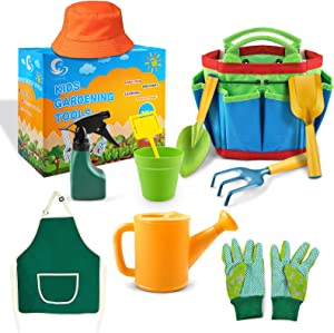 LQTTEK Kids Gardening Tool Set, 11PCS Children's Gardening Tools Kit Toddlers Girls Boys Toys Gift with Apron, Hat, Tote Bag, Gloves, Rake, Shovel, Trowel, Watering Can, Spray Bottle, Pots and Tag