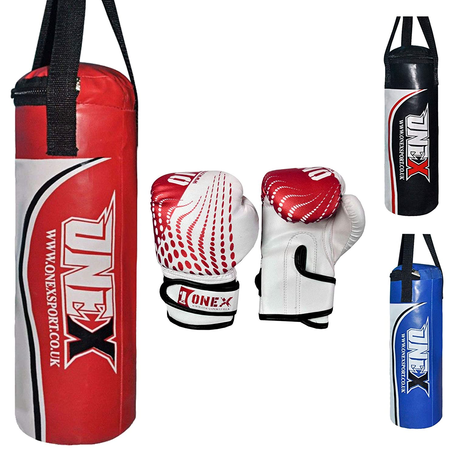 ONEX Kids Punch Bag Filled Set Junior Kick Boxing Gloves Heavy MMA Training Youth Gloves Punching Mitts Hanging Strap Muay Thai Martial Arts 1.5FT