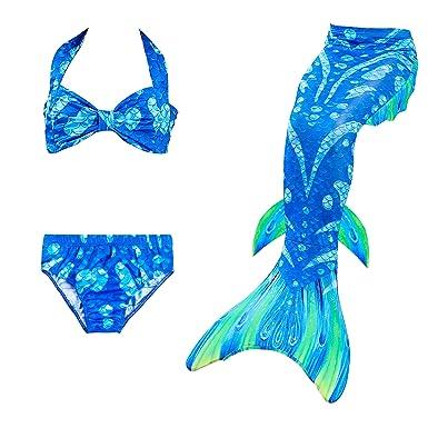 4pcs Little Children Mermaid Tail With Flipper Costume Cosplay Rainbow Mermaid Swimsuit Bikini Set Kids Swimming Girls Swimsuit Home