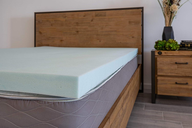 """DreamFoam Bedding, 2"""" Gel Swirl Memory Foam Topper, Made in USA,Twin, Blue"""