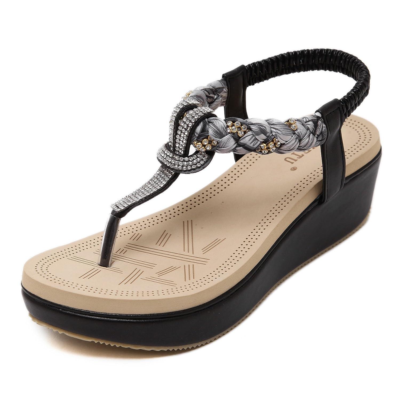 Damen Zehentrenner Sandalen Bohemia Keilabsatz Strass Frauen Sommer Schuhe  36 EU|Schwarz