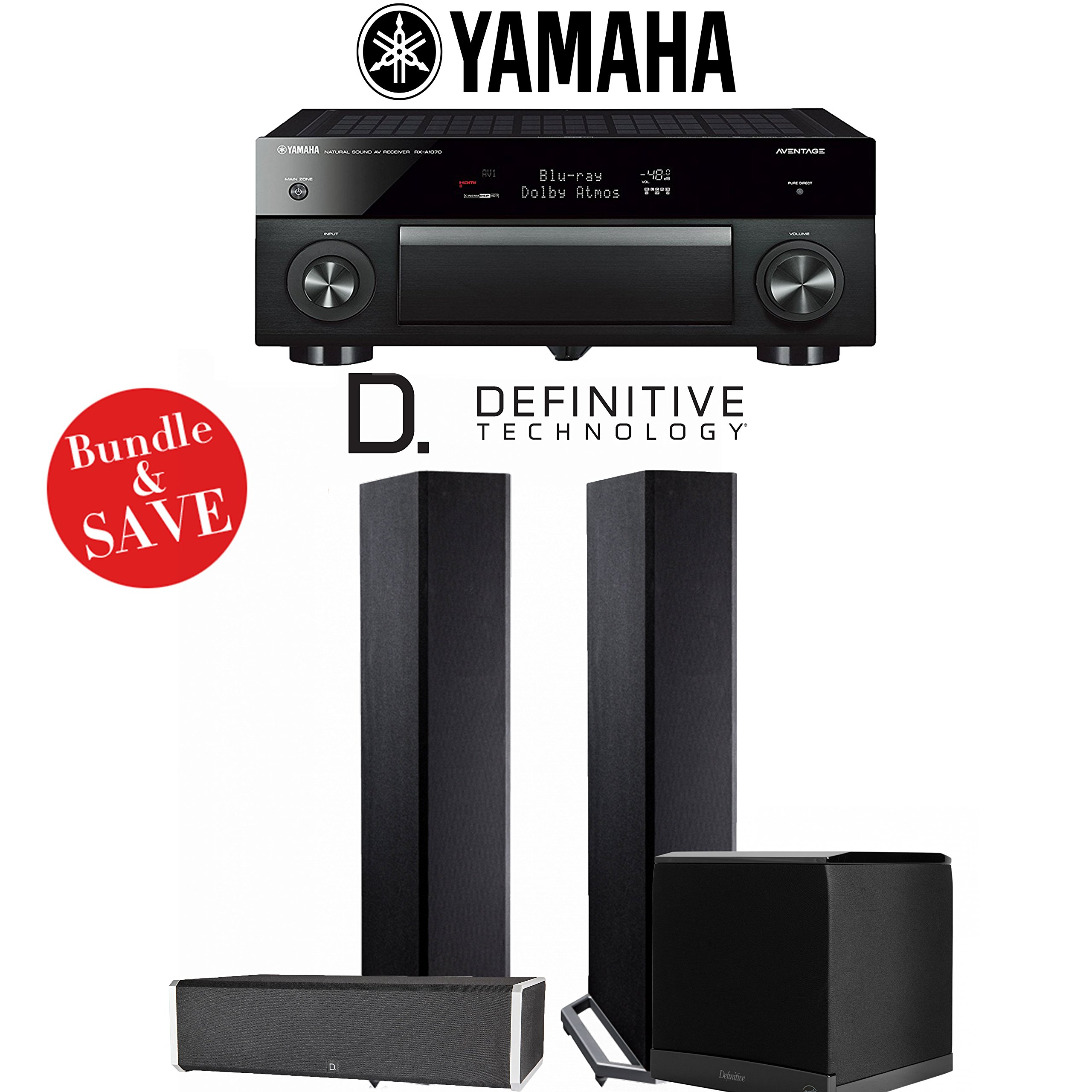 Yamaha AVENTAGE RX-A1070BL 7.2-Channel 4K Network AV Receiver + Definitive Technology BP9020 + Definitive Technology CS9060 + Definitive Technology SuperCube6000 - 3.1-Ch Home Theater Package by Definitive Technologyyy