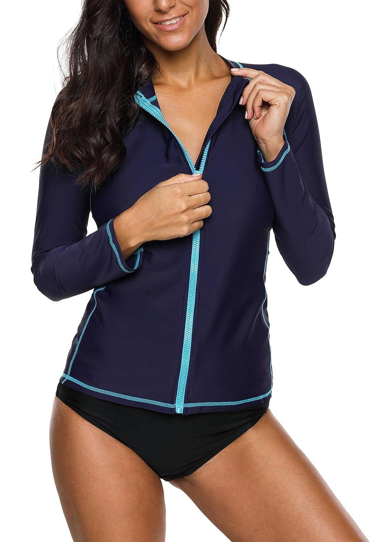 Navy Anwell Womens Rash Guard Shirt Long Raglan Sleeve Zip Front Swim Shirt